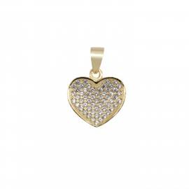 Silverline, ασημένιο, γυναικείο, μενταγιόν, με, ζιργκόν, καρδιά, &, κίτρινο, επιχρύσωμα,