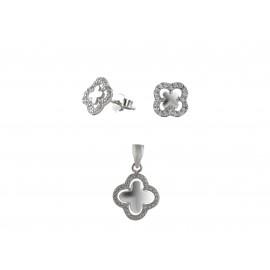 silverline, γυναικείο, ασημένιο, σετ, μενταγιόν και σκουλαρίκια σε σταυρό, με άσπρα ζιργκόν και λευκό επιπλατίνωμα χωρίς νικέλιο