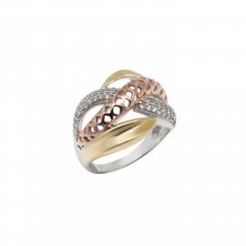 Silverline, ασημένιο, γυναικείο, δαχτυλίδι, τριχρωμία, με, ζιργκόν,  άσπρο, επιπλατίνωμα, ροζ, &, κίτρινο, επιχρύσωμα,