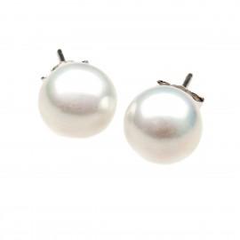 Ασημένια, καρφωτά , γυναικεία σκουλαρίκια silverline επιπλατινωμένα με άσπρη πέρλα 10mm