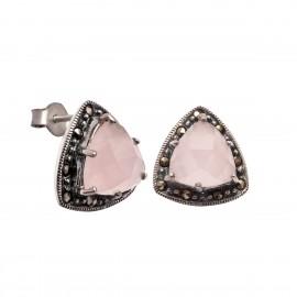 Σκουλαρίκια με ροζ κουάρτζ