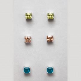 3 Ασημένια σκουλαρίκια καρφωτά μονόπετρα