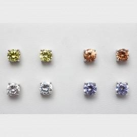 4 Ασημένια σκουλαρίκια καρφωτά μονόπετρα