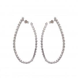Ασημένια σκουλαρίκια κρίκοι με ζιργκόν