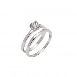 Ασημένιο Διπλό δαχτυλίδι μονόπετρο