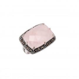 Δαχτυλίδι γυναικείο με ορθογώνιο ροζ κουάρτζ