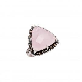 Δαχτυλίδι γυναικείο με τρίγωνο ροζ κουάρτζ