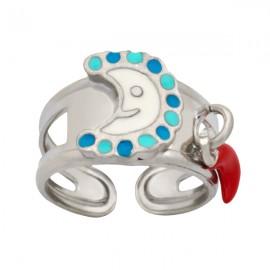 Woofie, Ασημένιο Παιδικό Δαχτυλίδι για κορίτσια, με σμάλτο,  φεγγαράκι & άσπρο επιπλατίνωμα