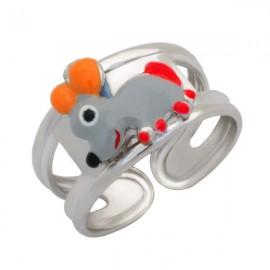 Woofie, Ασημένιο Παιδικό Δαχτυλίδι για κορίτσια, με σμάλτο, ποντικάκι  & άσπρο επιπλατίνωμα