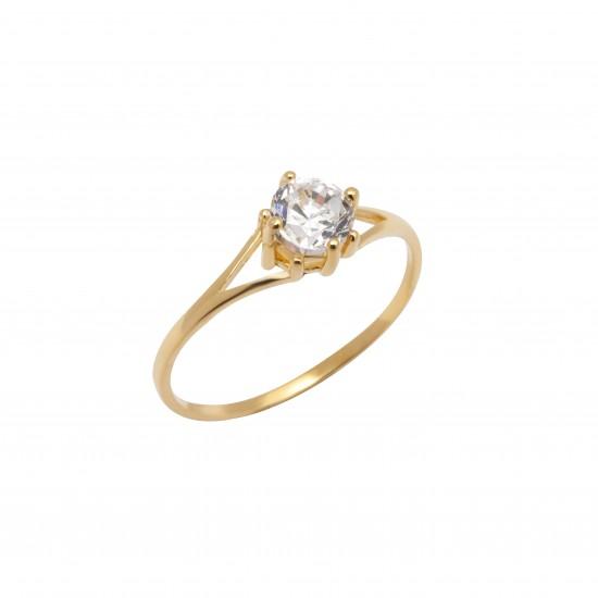 Ασημένιο Μονόπετρο δαχτυλίδι
