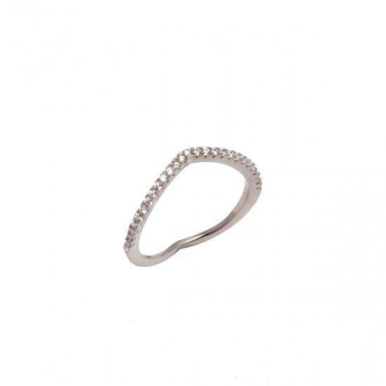 Ασημένιο Μισόβερο γυναικείο δαχτυλίδι