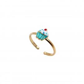 woofie ασημένιο παιδικό δαχτυλίδι για κορίτσια με σμάλτο, κεκάκι & κίτρινο επιχρύσωμα